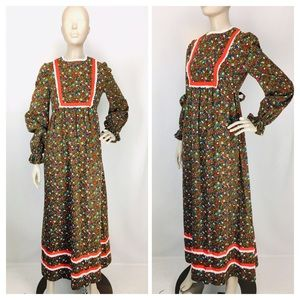 True Vintage 60's Boho Floral Prairie Maxi Dress